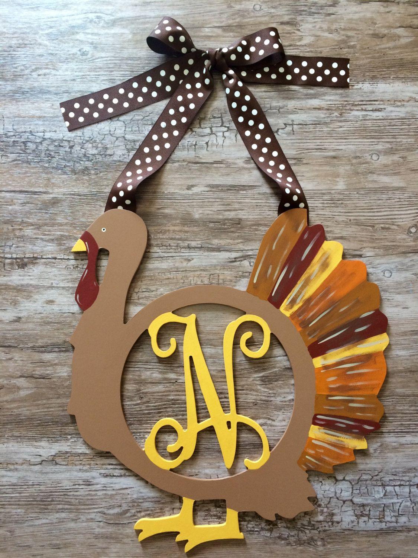 Wooden Thanksgiving Turkey Monogram Painted Decor Wood