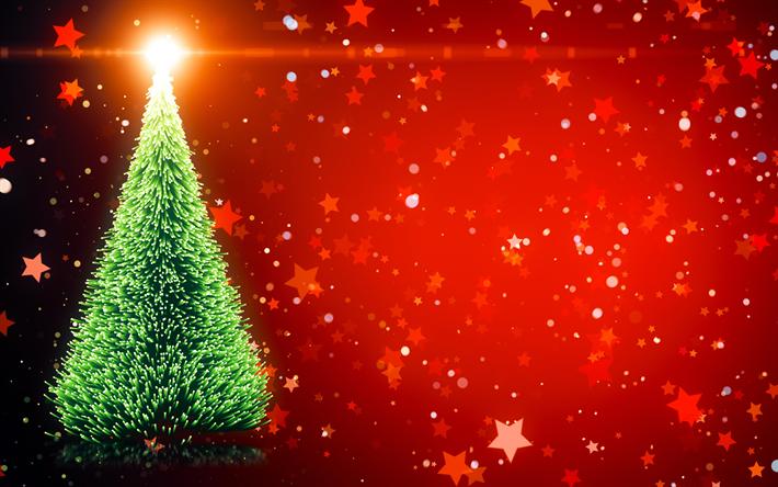 Download wallpapers christmas tree, 4k, christmas