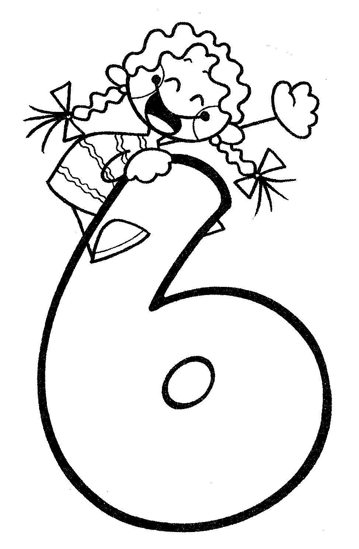 Material didáctico para niños. El número seis, 6. Para imprimir ...