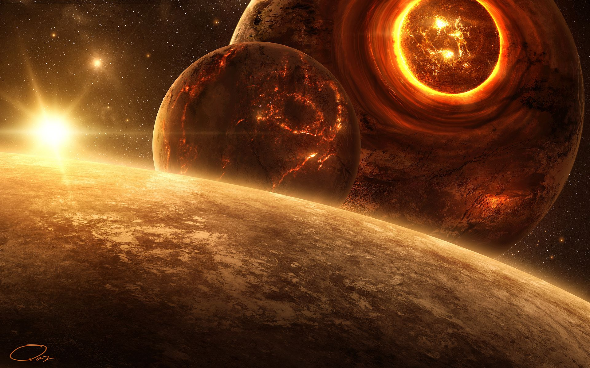 wallpaper art, qauz, planet, lava, break, star, moon wallpapers