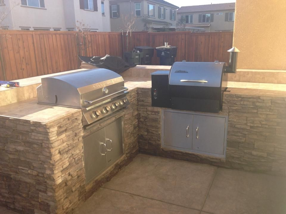 A Built In Traeger And Added Stainless Steel Accessories To Match From Matthew Dreher
