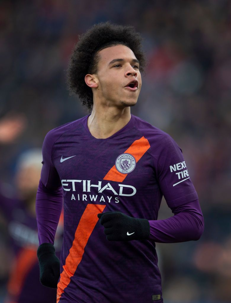 Leroy Sane Of Manchester City Celebrates After Scoring During The Manchester City Leroy Sane Premier League Matches