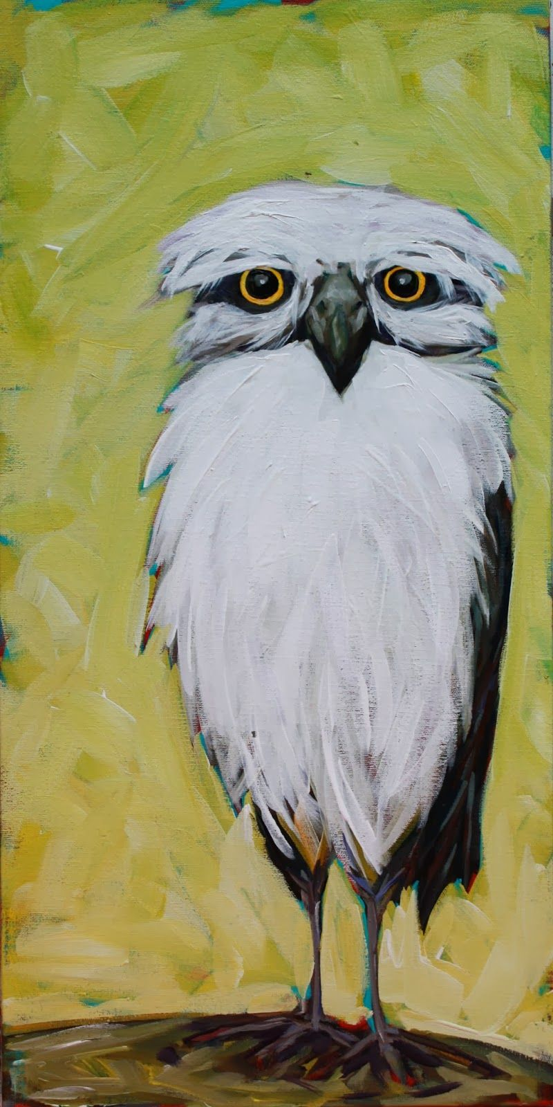 Ned the Owl, 24 x 12 Acrylic on raised canvas by Kandice Keith www.kandicekeith.ca