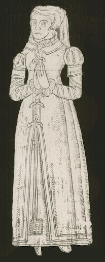 c1585, English Provincial Lady, Derbyshire The dress looks more 1550s than 1580s to me. Maybe because she's from the provinces?