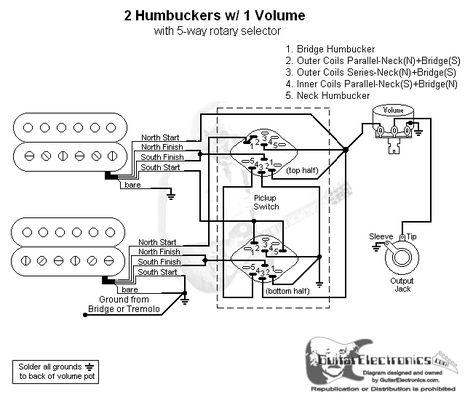2 humbuckers 5 way rotary switch 1 volume 06 products pinterest rh pinterest com