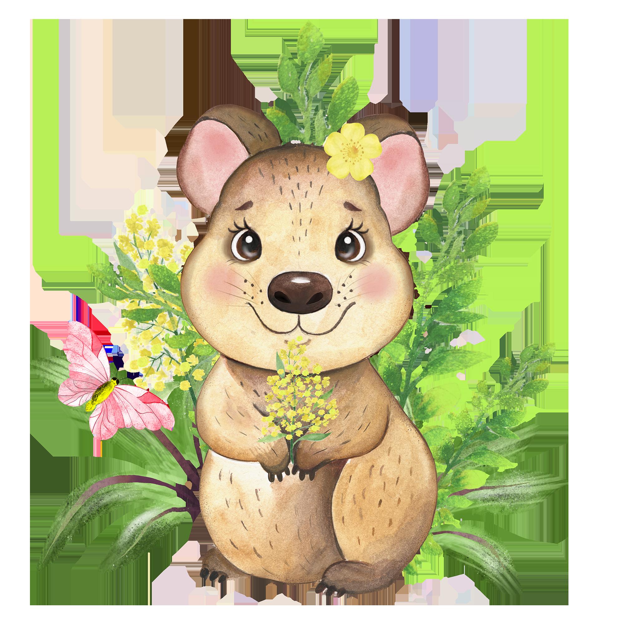 Australian Animals Clipart Koala Platypus Quokka Flowers Etsy In 2021 Baby Animal Art Australian Animals Animal Clipart