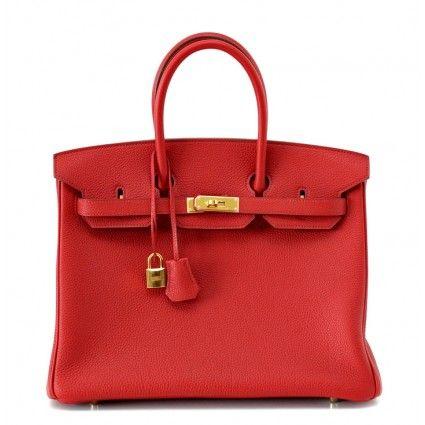 Hermes Rouge Garance Togo 35cm Birkin Bag Gold Hardware