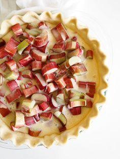 Rhubarb Sour Cream Crumble Pie The Kitchen Paper Dessert Recipes Easy Rhubarb Recipes Pie Crumble