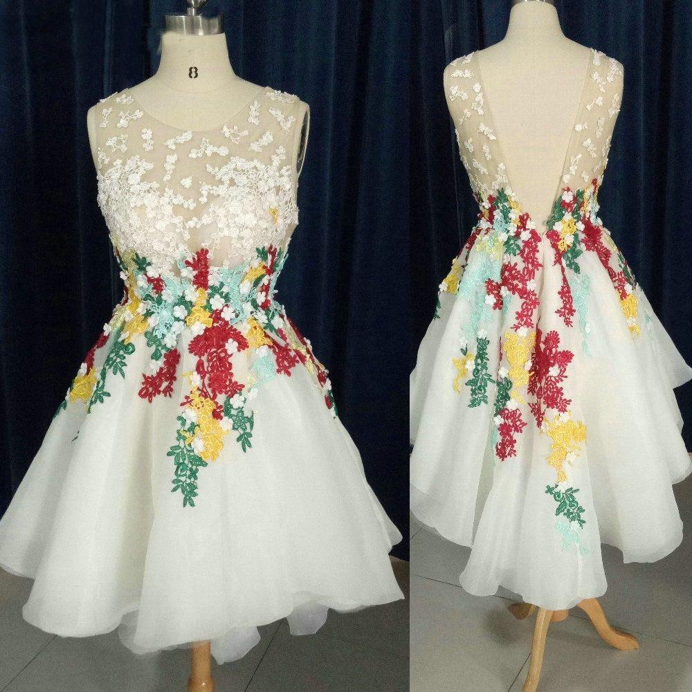 Sheer short front long back cocktail dresses d flowers