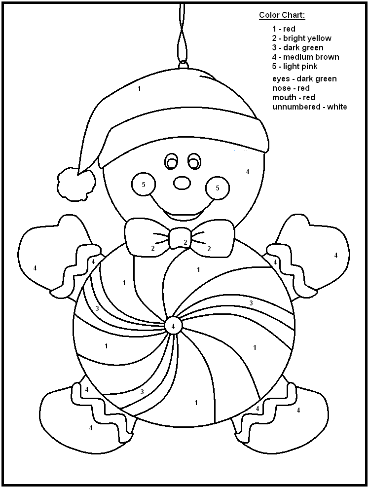 Coloring Pages For Christmas In Spanish. color by number printables  FREE Printable Christmas Gingerbread Color Number