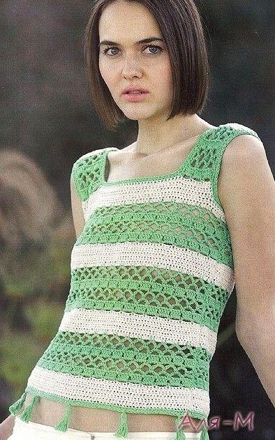 Green and White Stripe Tank Top free crochet graph pattern   crochet ...