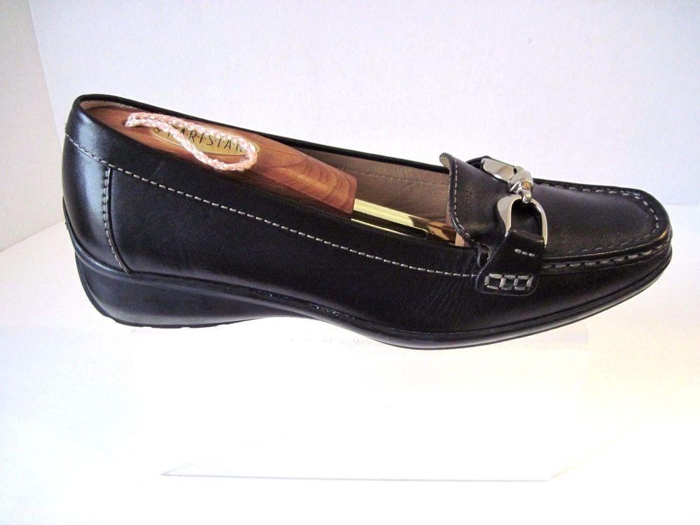100% Zufriedenheit neue Fotos neue bilder von Womens Geox Respira Black Leather Wedge Loafers Silver Tone ...