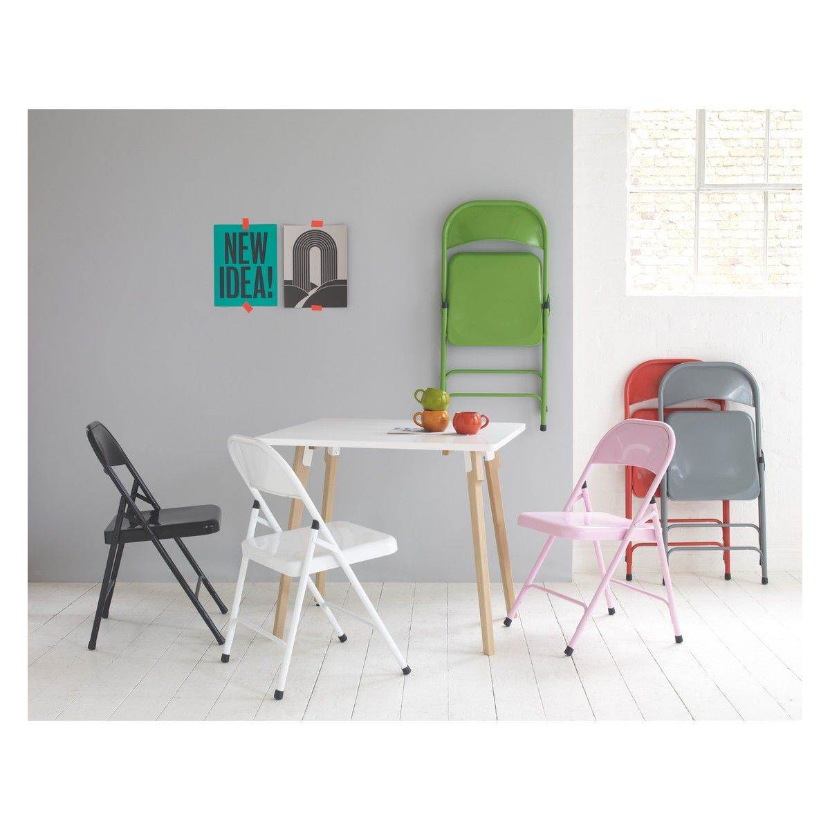 The Macadam Pink Metal Folding Chair Is Versatile And Great For Dining Occasional Use Buy Now At Habitat UK