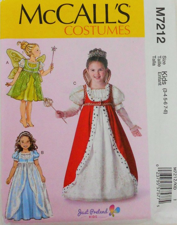 9c286a68e4792 Children's/Girls' Princess Costumes McCall's Sewing Pattern 7212 in Size  3-8 Fairy Princess Costume
