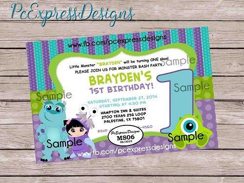 monster inc 1st birthday invitation ms06 boy birthdays