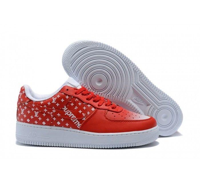 Nike Rojo Air Force 1 Hombres  Mujeres Rojo Nike Blanco Moda Estilo Pinterest 285e94
