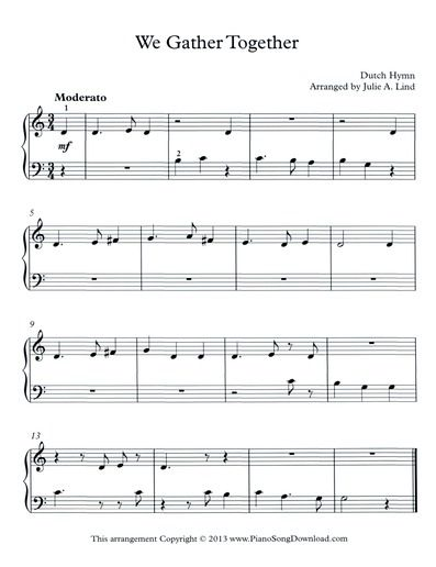 We Gather Together An Easy Thanksgiving Hymn For Beginner Piano