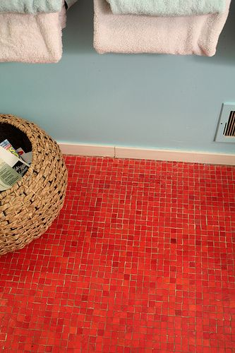 Red Mosaic Tile Floor Bright Color Could Be Fun Too Soft Grey Walls And Ceiling White Crown Molding Na House Bathroom Designs Mosaic Floor Tile Red Tiles