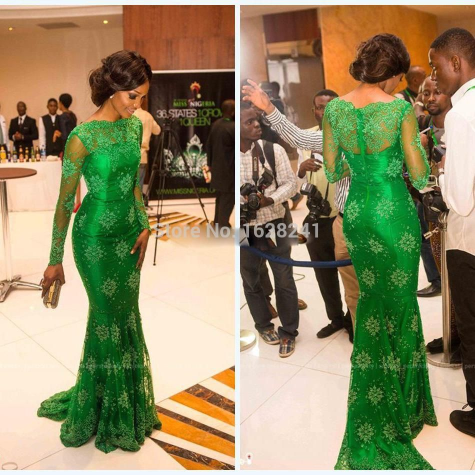 Prom dress new arrival 2016 mermaid pageant dress emerald green - New Arrival Red Carpet Miss Nigeria Gorgeous Green Lace Celebrity Dresses Long Sleeves Trumpet Mermaid Evening Formal Gowns