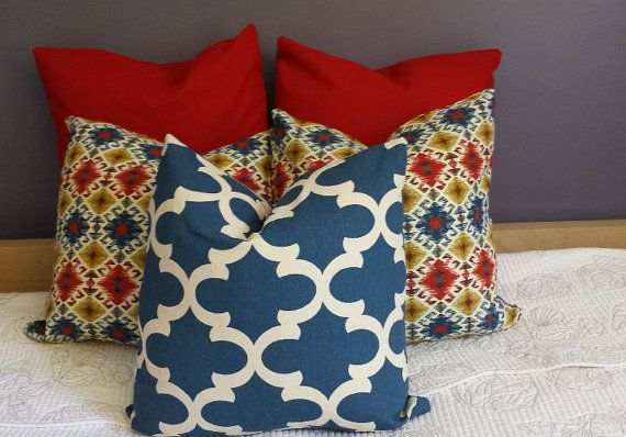 Decorative Throw Pillow Cushion Covers Denim Navy Red by AggieRay