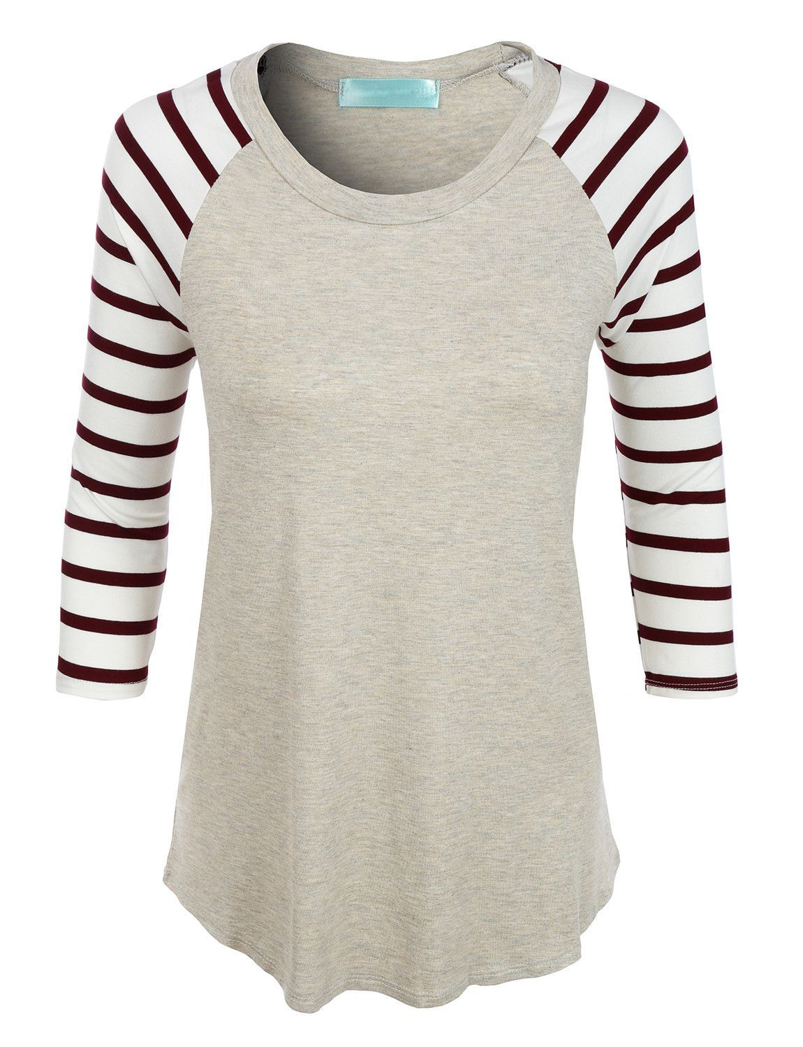 8f5ca393dfa Look casual and trendy in this lightweight round neck striped raglan sleeve  t-shirt. Made from a lightweight and super soft material