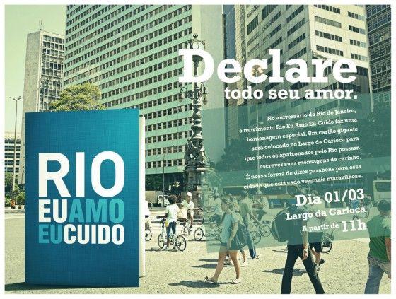 Cartão gigante. Rio Eu Amo Eu Cuido faz ação no dia do aniversário da cidade | Marketing Promocional | @Promoview