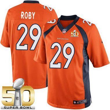 da6b76e37 Men s Denver Broncos  29 Bradley Roby Orange Team Color 2016 Super Bowl  50th Patch Bound Game Jersey
