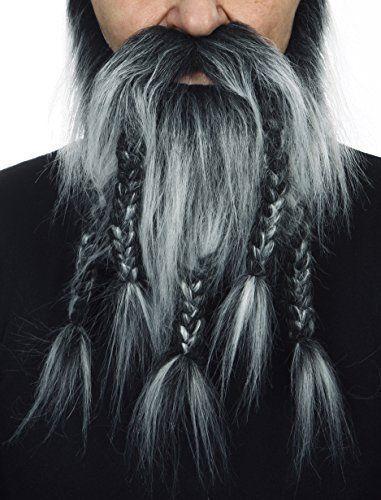 Mens Grey Full Moustache Beard False Fake Facial Hair Fancy Dress Accessory