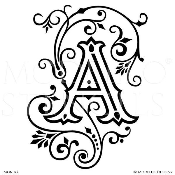 Decorate Your Walls With Custom Vinyl Stencils That Fit Your Space And Style Use Monogram Stencils To Paint Monogram Stencil Monogram Wall Art Letter Stencils