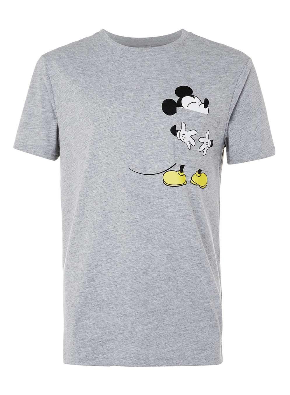 Black t shirt topman - Grey Marl Mickey Mouse Tongue Print T Shirt