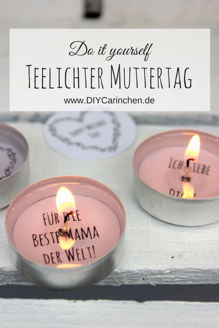 diy geschenk zum muttertag - teelicht mit liebesbotschaft selber
