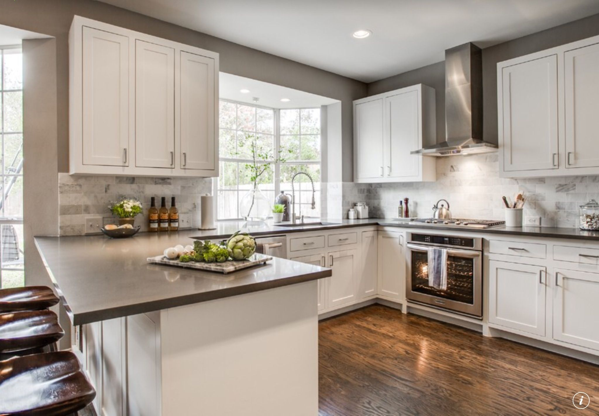Separate Cooktop And Oven Kitchen White Blues Grays - White cupboards grey countertops