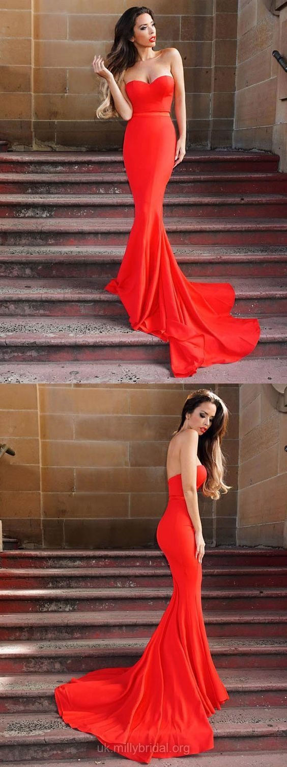 Long prom dresses mermaid red prom dresses cheap evening