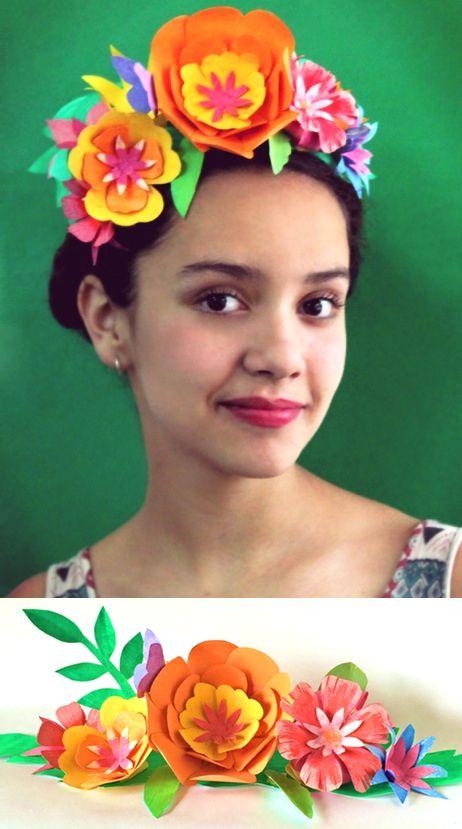 Make a frida kahlo inspired paper flower crown for cinco de mayo - Deguisement frida kahlo ...