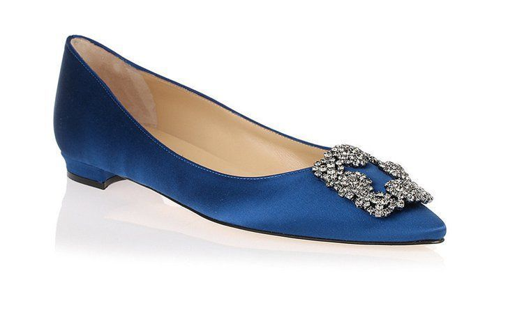 0be5d0973400 Pin for Later  The Ultimate Guide to Flat Wedding Shoes Manolo Blahnik  Royal Blue Hangisi Flats Manolo Blahnik Royal Blue Hangisi Flats (£650)