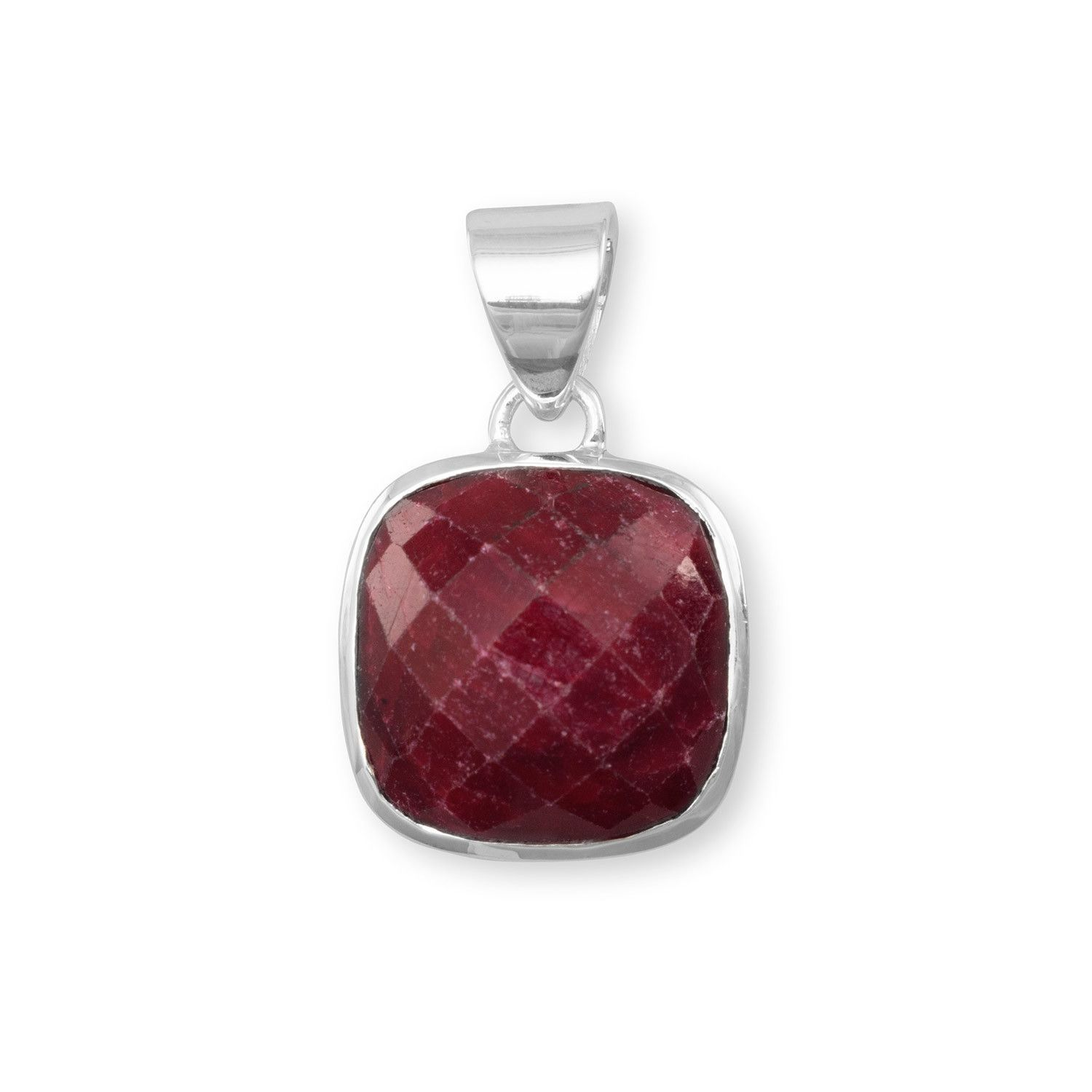 Square faceted roughcut ruby pendant products pinterest ruby