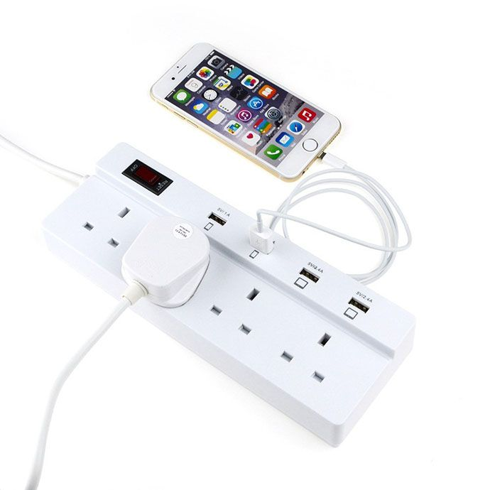 Uk Multi Plug Socket Extension 4 Outlet With Usb Port Surge Protection Child Safety Shutter Power Strip Electrical Outlets Usb