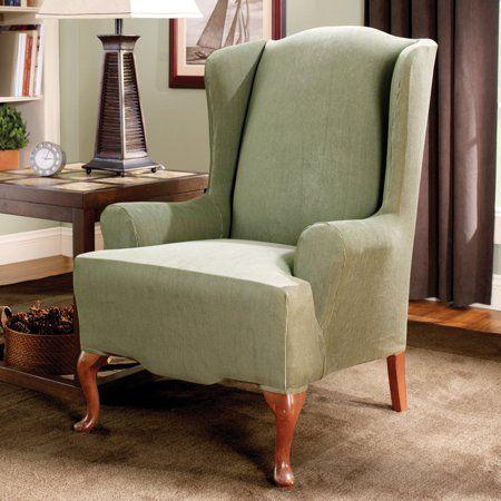 chair Sure Fit Stretch Jacquard Damask Box cushion slip cover Mushroom taupe