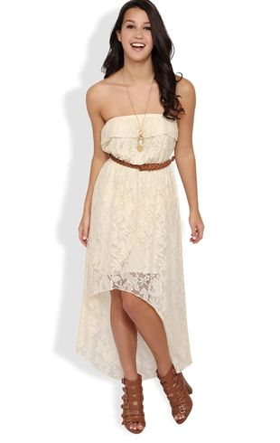 9c9d7a8287b Strapless Lace High Low Dress with Ruffle Bodice and Belt #trixxi ...