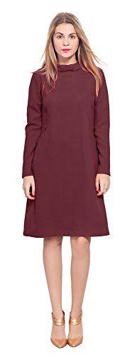 e378184fa58 Marycrafts Womens Classy Vintage 1960s High Neck Sleeve A Line Dress ...