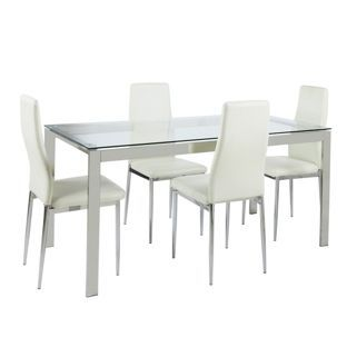 Buy Hygena Pluto Glass Top Dining Table and 4 Chairs White at