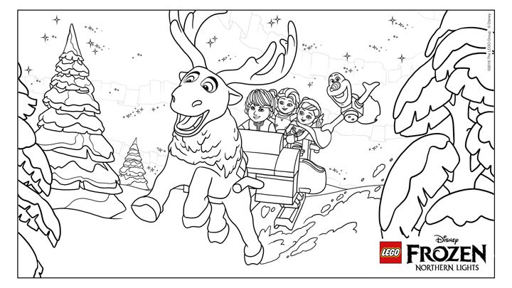 Frozen Northern Lights Coloring Fun Coloring Pages Lego Coloring Lego Coloring Sheet