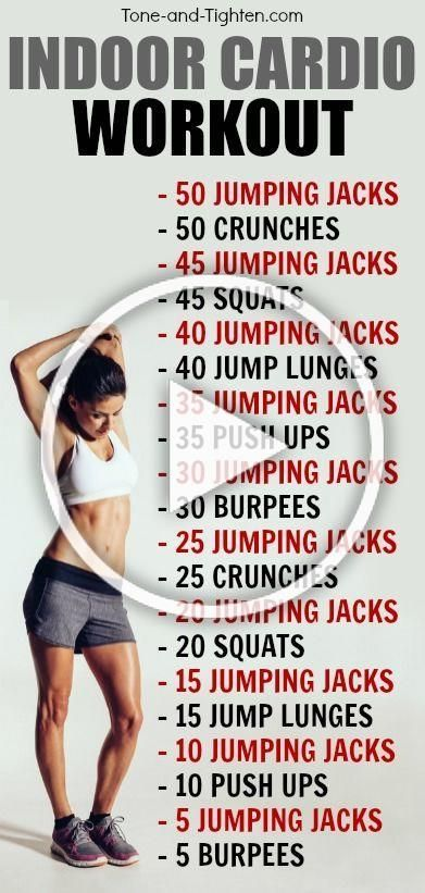 Indoor cardio workout - the perfect combination of cardio and strength to help you tone and tighten!...