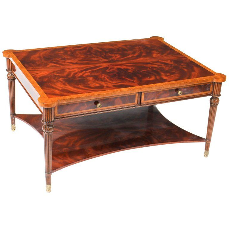 Elegant Flame Mahogany Coffee Table With Four Drawers 20th