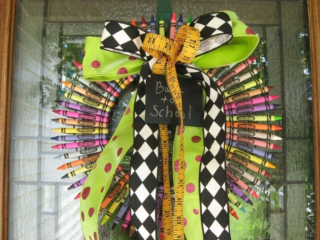 School House Crayon Wreath by JamieJokhyDesigns on Etsy