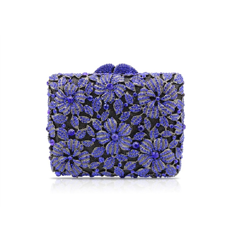 (69.00$)  Watch more here - http://ai3i5.worlditems.win/all/product.php?id=32804711161 - 8380 Blue Crystal Wedding Floral Flower Bridal Party Night  hollow Metal Evening purse clutch bag handbag