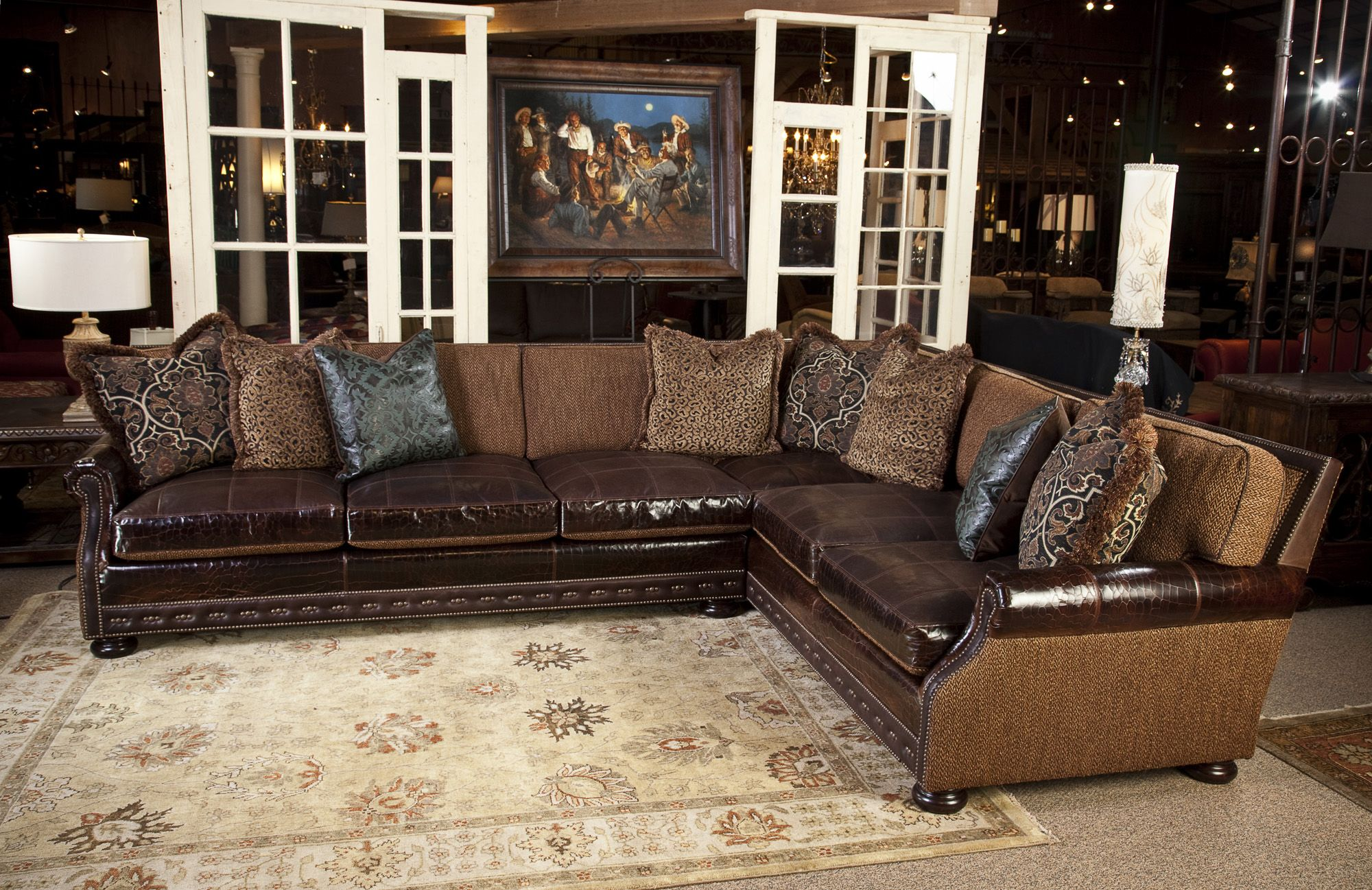 this fabric and leather sectional is great for any living