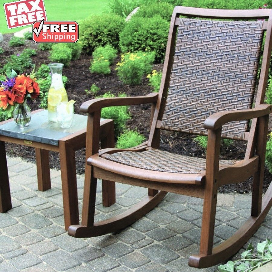 Traditional Wood Rocking Chair Indoor Outdoor Porch Patio Swing