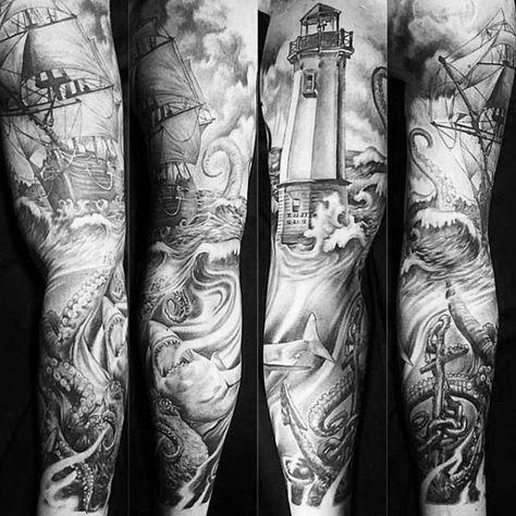 Top 37 Sailor Sleeve Tattoo Ideas 2020 Inspiration Guide Tattoo Sleeve Men Ocean Sleeve Tattoos Nautical Tattoo Sleeve