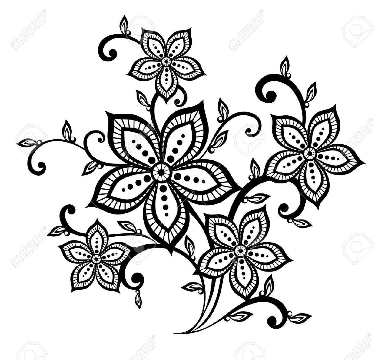 Set Of Black Flower Design Elements Royalty Free Stock: Beautiful Black And White Floral Pattern Design Element